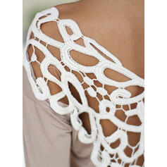 Patchwork Lace Round Neck Long Sleeves Sexy T-shirts