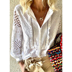 Solid Lace V-Neck Lantern Sleeve Long Sleeves Casual Blouses