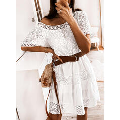 Lace/Solid Short Sleeves Shift Knee Length Elegant Dresses