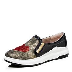 Frauen Kunstleder Flascher Absatz Flache Schuhe Geschlossene Zehe mit Pailletten Schuhe