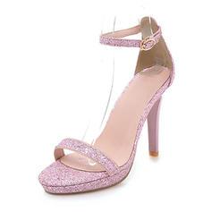 Kvinder Mousserende Glitter Stiletto Hæl sandaler Pumps Platform Kigge Tå med Spænde sko