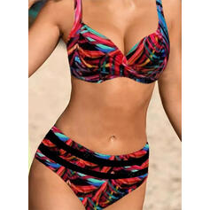 High Waist Print Push Up Strap V-Neck Sexy Boho Bikinis Swimsuits