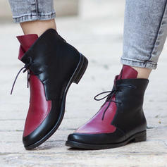 Women's PU Chunky Heel Ankle Boots Martin Boots With Lace-up shoes