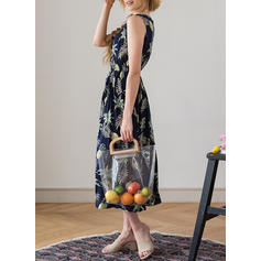Print Round Neck Midi A-line Dress