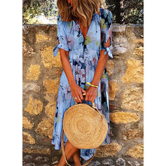 Print/Floral Short Sleeves A-line Skater Casual Midi Dresses