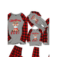 Rensdyr Plaid Letter Familie Matchende Jul Pyjamas