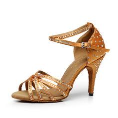 Femmes Satiné Talons Sandales Latin avec Strass Lanière de cheville Chaussures de danse