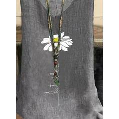 Virágos Minta Levél V-nyak Αμάνικο Μπλουζάκια