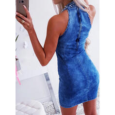 Solid/Beaded Sleeveless Bodycon Above Knee Sexy Dresses