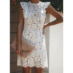 Lace/Solid Cap Sleeve Sheath Knee Length Little Black/Casual Dresses