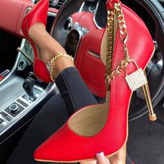 Női PU Tűsarok Magassarkú Zárt lábujj Hegyes orr -Val Lánc Hálós ruha cipő