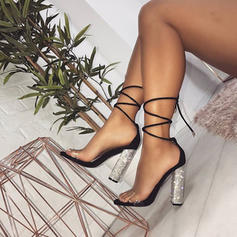 Women's Leatherette Chunky Heel Sandals Pumps Peep Toe Heels With Lace-up shoes