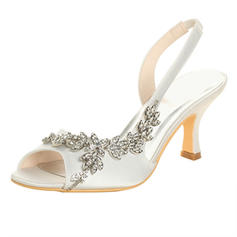 Women's Satin Spool Heel Peep Toe Sandals With Rhinestone