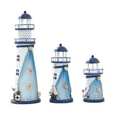 Mediterranean Iron Lighthouse Figurines & Sculptures