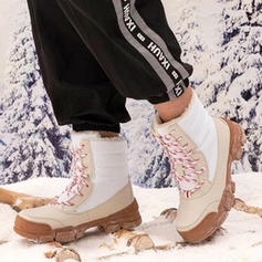 Women's Canvas PU Low Heel Boots With Lace-up shoes