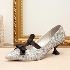 Femmes Pailletes scintillantes Talon bobine Escarpins avec Bowknot Dentelle chaussures