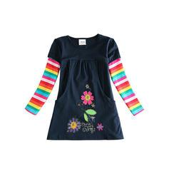 Chicas Cuello redondo Floral Impresión raya Casual Vestido