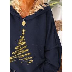 Print Lange Mouwen Kerst Sweatshirt