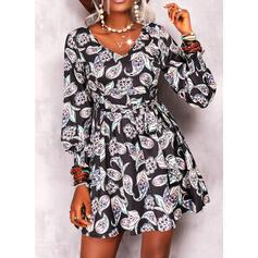 Print Long Sleeves A-line Above Knee Casual/Boho Skater Dresses