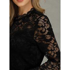 твердый кружевной Шею Длинные рукова Повседневная элегантный Блузы