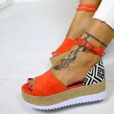 Mulheres PU Sem salto Sandálias Peep toe com Fivela sapatos