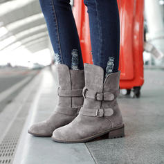 Women's Suede Chunky Heel Snow Boots Martin Boots With Buckle shoes