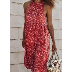 Print Sleeveless Shift Tank Casual/Vacation Midi Dresses