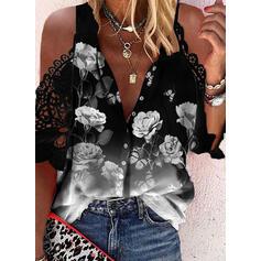Trykk Blomstrete Blonder Kald skulder 1/2-ermer Cold Shoulder Sleeve Avslappet Bluser