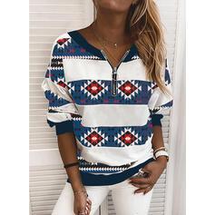 Print V-hals Lange ærmer Sweatshirts