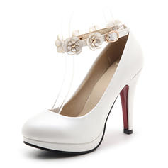 Women's Leatherette Stiletto Heel Pumps Platform Closed Toe With Applique shoes
