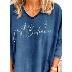 Print Figure Heart V-Neck Long Sleeves Casual T-shirts