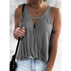 Sólido Cuello en V Sin mangas Casual Sexy Camisetas sin mangas