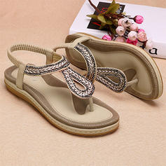 Women's PU Flat Heel Flats Flip-Flops With Braided Strap shoes