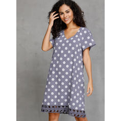 PolkaDot Short Sleeves Shift Knee Length Casual T-shirt Dresses