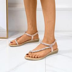 De mujer Cuero Tacón plano Sandalias Planos Solo correa Pantuflas con Rhinestone zapatos