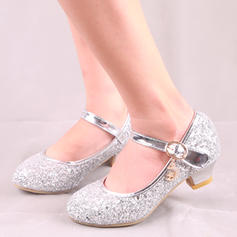 Girl's Leatherette Sparkling Glitter Low Heel Round Toe Closed Toe Flats Flower Girl Shoes With Buckle