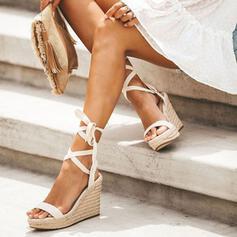 Γυναίκες PU Γωνία κλίσης Σανδάλια Ανοιχτά σανδάλια toe Με Κέντημα-επάνω παπούτσια