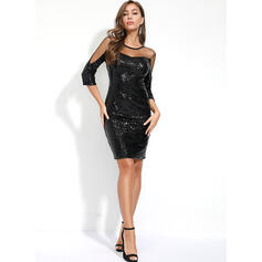 Sequins Long Sleeves Sheath Knee Length Little Black/Party Dresses