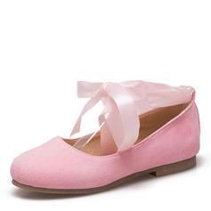 Dla kobiet Zamsz Płaski Obcas Plaskie Zakryte Palce Mary Jane Z Kokarda Wstążka Sznurowanie obuwie