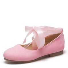 Frauen Veloursleder Flascher Absatz Flache Schuhe Geschlossene Zehe Mary Jane mit Bowknot Satin Schnürsenkel Zuschnüren Schuhe