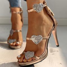 Dla kobiet PU Obcas Stiletto Sandały Czólenka Otwarty Nosek Buta Z Zamek błyskawiczny obuwie