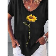Zonnebloem print V-hals Korte Mouwen Casual T-shirts