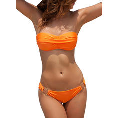Solid Color Low Waist Strapless Sexy Bikinis Swimsuits