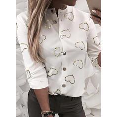 Impresión Corazón Cuello de Erguido Manga Larga Con Botones Casual Blusas