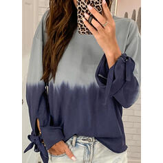 Gradient Round Neck Long Sleeves Sweatshirt