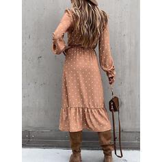 Gepunktet Lange Ärmel A-Linien Skater Freizeit/Elegant Midi Kleider
