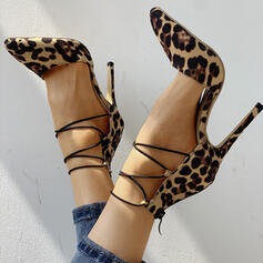 Women's Suede Stiletto Heel Pumps With Animal Print shoes