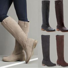 Frauen PU Niederiger Absatz Kniehocher Stiefel mit Reißverschluss Schuhe