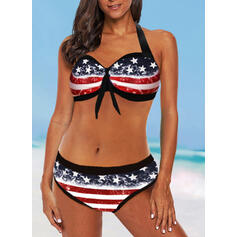 Flag Star Halter V-Neck Vintage Plus Size Bikinis Swimsuits