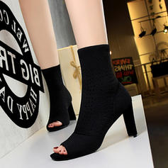 Women's Cloth Stiletto Heel Ankle Boots With Hollow-out shoes